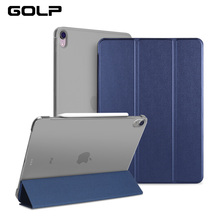 For iPad Pro 12.9 2018 Case, GOLP Magnetic Flip Stand PU Leather and Hard PC Back Smart case for cover