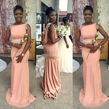 Champagne Long Bridesmaid Dresses Sleeveless Floor Length Bridesmaid Dress 2017 Prom Gown Wedding Party Dress