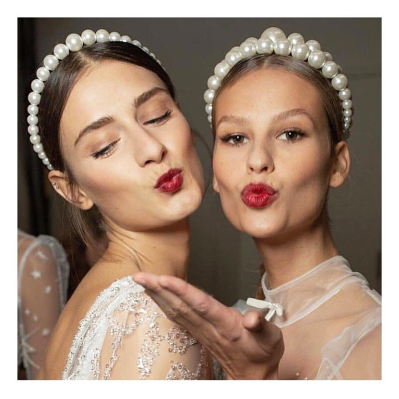 CC Luxury Big Pearl Hairbands Crown Tiara Headband Hair Accessories for Women Queen Shine Fine Elegant Personality Fashion bk03