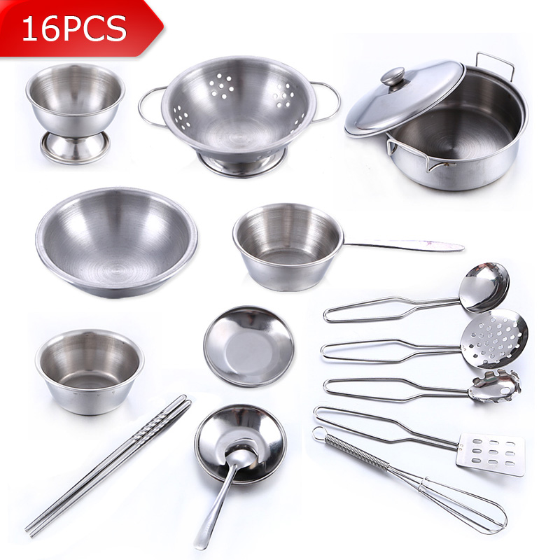 16Pcs Stainless Steel Children Kitchen Toys Miniature Cooking Set Simulation Tableware Toy Pretend Play Cook Toy for Kids Gift