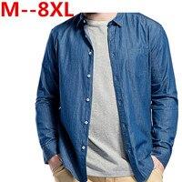 plus size 10XL 8XL 6XL 5XL Spring Autumn Men Denim Thin Shirt Long Sleeve Soft Cotton Pocket Loose Slight Elastic Jeans Cowboy