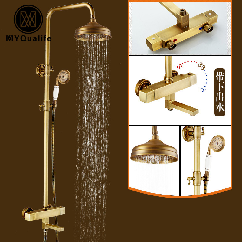 Wall Mounted Thermostatic Mixer Shower Faucet Set Dual Handle 8 Rainfall Shower Head with Hand Shower Tub Spout mojue thermostatic mixer shower chrome design bathroom tub mixer sink faucet wall mounted brassthermostat faucet mj8246