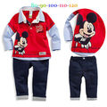 New 2pcs Baby Kids  Boy Infant Long Sleeve Minnie Cartoon Mouse Turn-down Collar Polo T-shirt Top+ Pants Outfit set Clothes 2-7Y