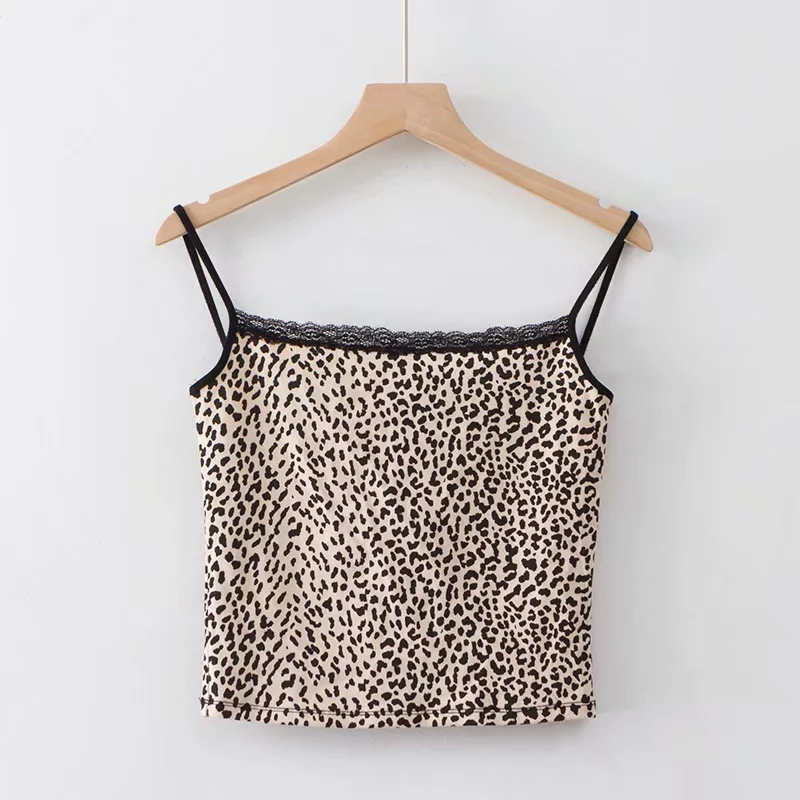 HTB1MtZCUwHqK1RjSZJnq6zNLpXa1 - Women Fitted Ribbed Cropped Spaghetti Strap Tank Top In Leopard Print