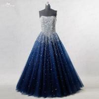 RSE197 Yiaibridal Elegante Bling Bling de Plata Rebordear Readt Para Enviar Stock Vestido Largo Azul Real Vestido de Fiesta
