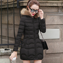 Nice Winter Wadded Jacket Women's Warm Hood Imitation Fur Collar Jackets And Coats Winter Cotton Padded Parkas Plus Size HJ122