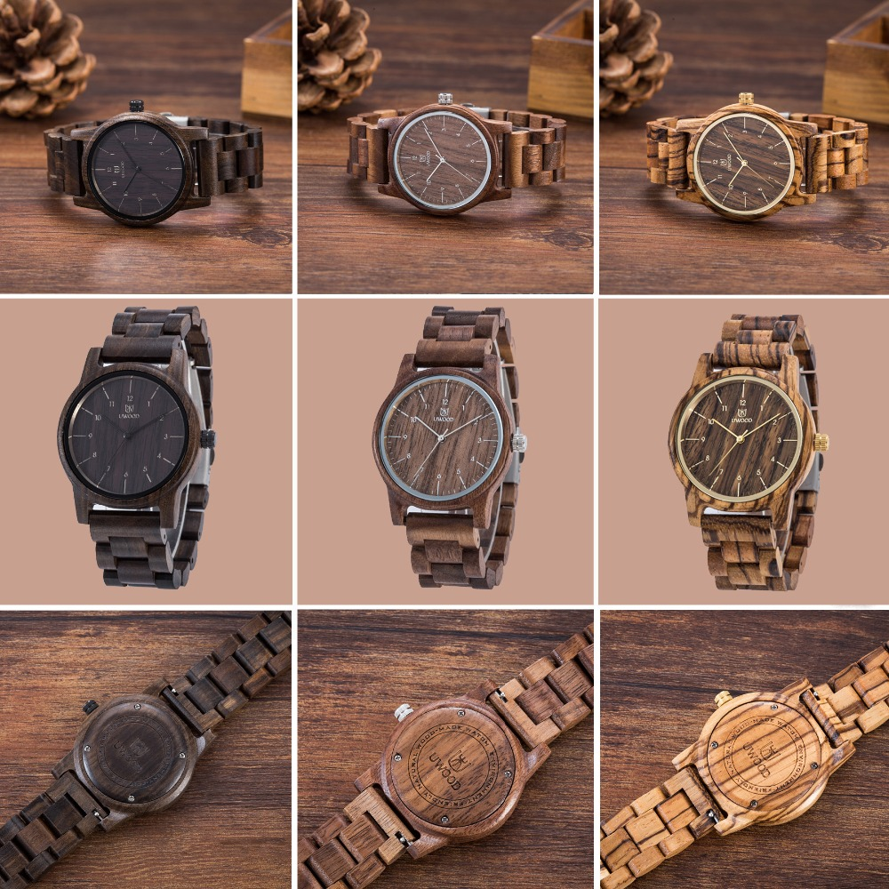 Luxury Brand Men`s Wood Watches Fashion UWOOD 100% Natural Walnut SandalWood Wristwatch Wooden Watch Casual For Men Women Unisex цена 2017
