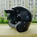 New arrival AMU carbon fiber vintage motorcycle helmet 3/4 open face helmet ECE approved Capacete motoqueiro casco casque moto