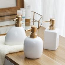 Nordic Witte Keramische Zeepdispenser Handdesinfecterend Soep Fles Home Hotel Druk Lege Fles Gel Shampoo Vocht Goud Druk Hoofd