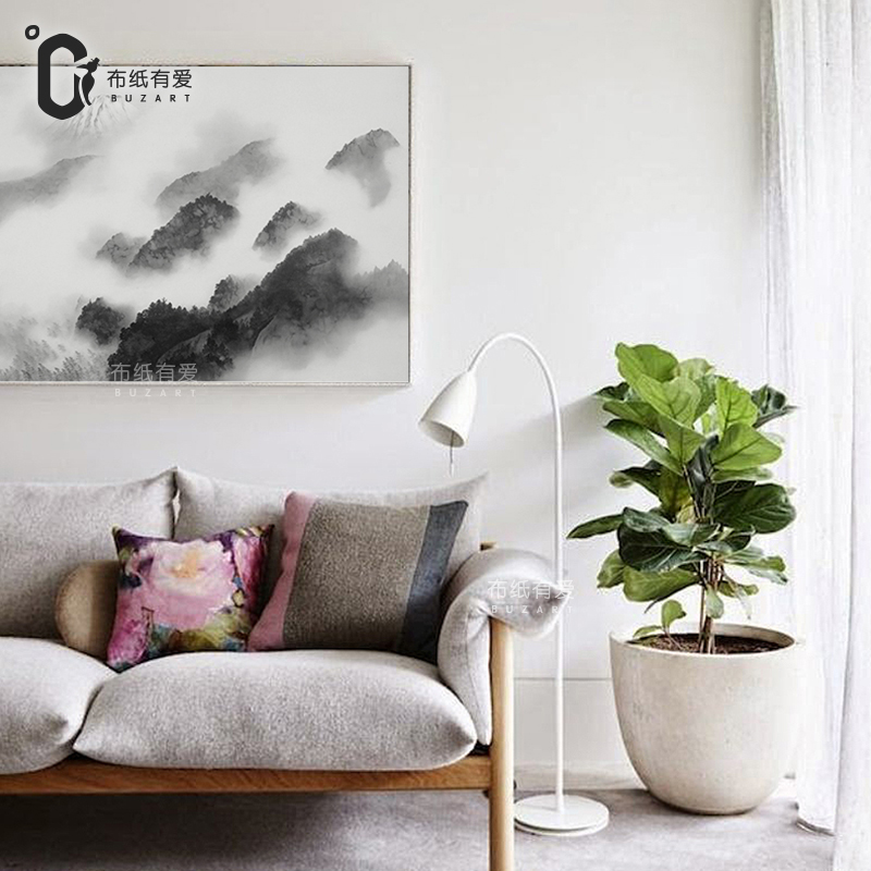 Black ink mountains Nostalgic style Canvas painting Wall pictures zen Home corridor decoration NO Frame