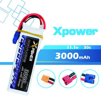 11.1v 3000mah Lipo Battery 3S 30C max 35C EC3 T XT60 Plug XPower Polymer Lithium For RC Helicoptes Airplane drone parts VS VOK
