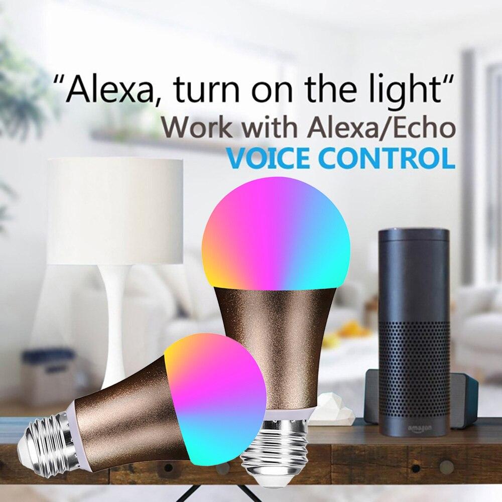 3 pièces Smart WiFi ampoule LED lampe 7 W RGB magique ampoule E27 Dimmable réveil lumières Compatible avec Alexa Google Assistant - 3