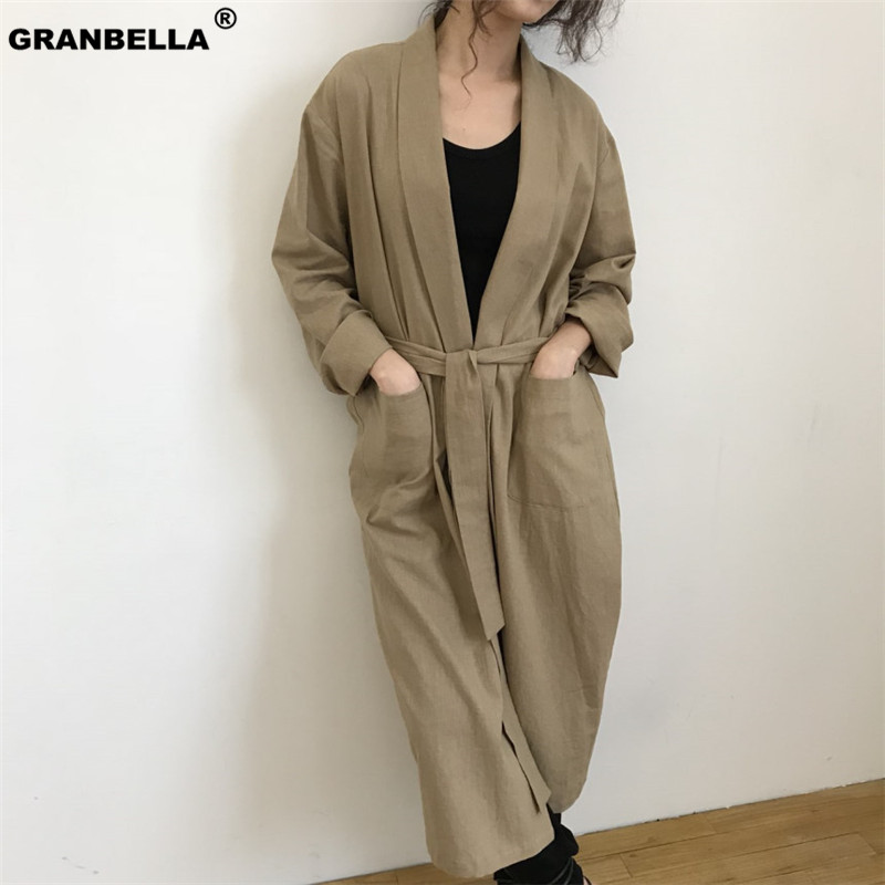 Korean and Japan Style Women's Shirt   Trench   Outwear 2019 Spring Summer Female Chic Big Pocket Cardigan   Trench   Coat With Belt