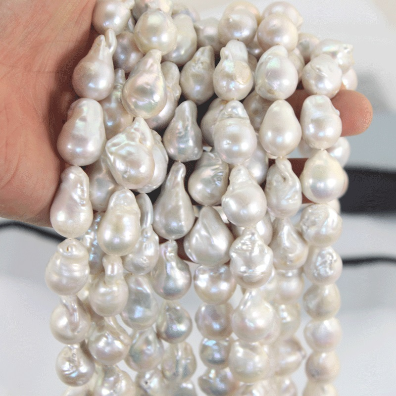 1 Strand 15 25MM Big Baroque Pearl Loose Pearl Beads Strands for Women Necklace Luxury White