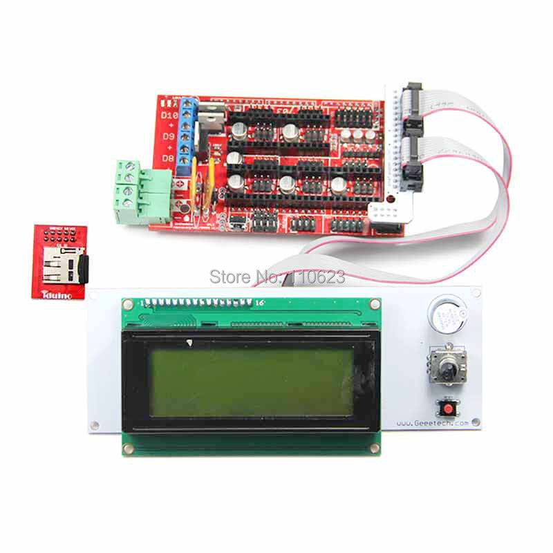 ФОТО Geeetech RAMPS1.4 shield+LCD 2004 smart controller with adapter&SD reader module for 3D Printer RepRap,Prusa
