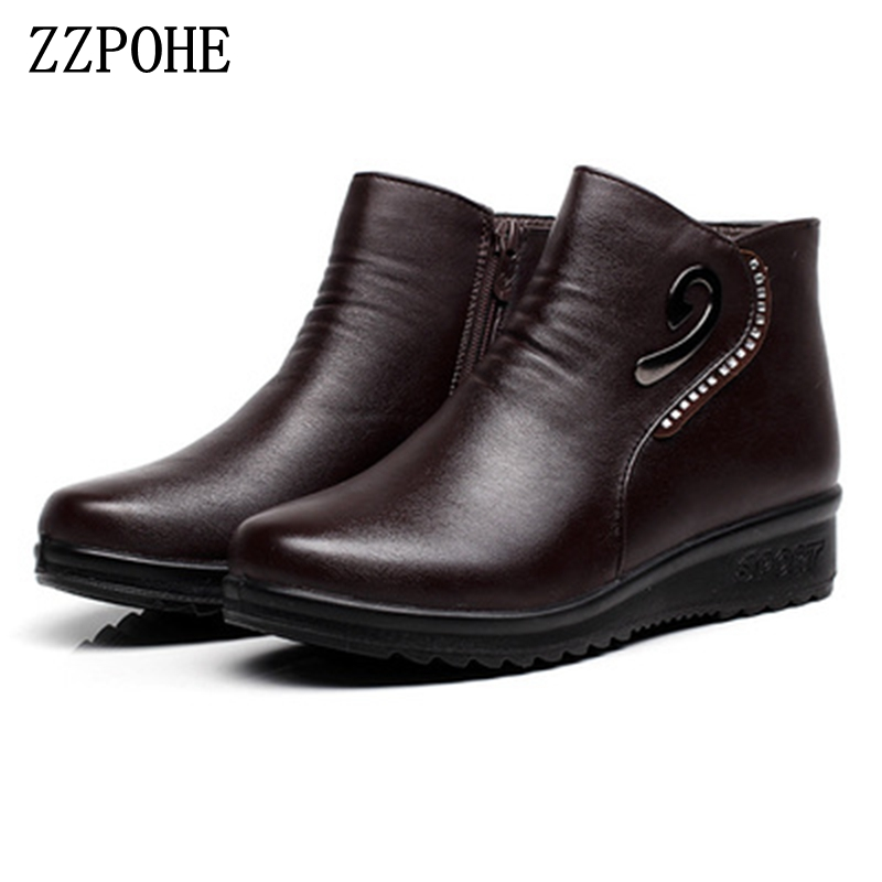 ZZPOHE Winter New Mother Fashion Cotton Shoes Middle-aged Cashmere Warm Snow Boots Large Size Pregnant Women Flat Cotton Boots