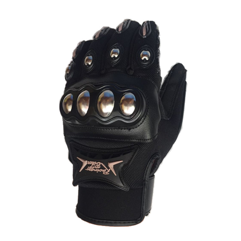 New Motocross Gloves Stainless Steel Motorcycle Gloves Black color Racing Protective gloves Moto Guantes Motocicleta Luvas in Gloves from Automobiles Motorcycles