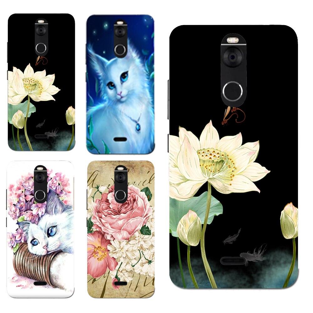 For Fly FS 520 Floral Sleepy Darling Baby Cat Animal Cases For FS520 Selfie 1 Back Cover Bag TPU Pattern Cases Bag Housing