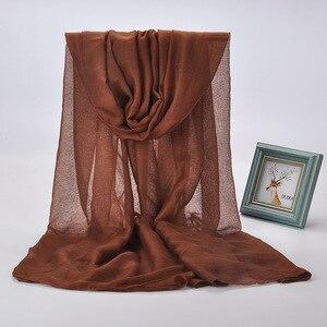 Image 5 - Женский хиджаб FOXMOTHER, фиолетовый/розовый простой мусульманский хиджаб, зимний шарф, 2018