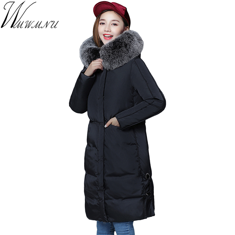 Wmwmnu 2017 New women winter jacket Large Silver Fox Fur Collar Hooded Woman Parka Womens Coats Thick Jacket Four Colors ls550 nike alliance parka 550 hooded