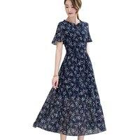 Summer style dress 2018 New Printing Casual Women Dresses Retro Big Swing Sexy Slim Office Party Chiffon Dress Ladies Vestidos