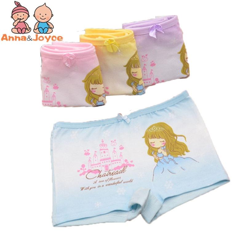 4 pcs/lot Cotton Kids Girls boxer Underwear Cute Cartoon Panties Children's Girls Kids Pants Baby Underpants aTNN0128