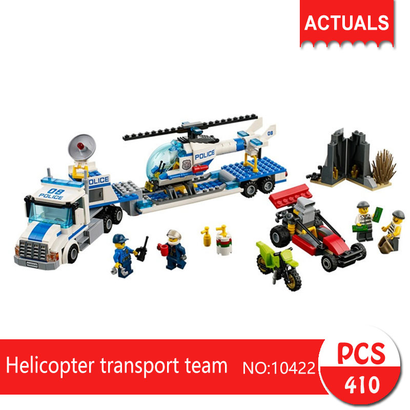 Lepin bela 10422 410Pcs City series Helicopter transport team Model Building Blocks Set  Bricks Toys For Children Gift 60049 1713 city swat series military fighter policeman building bricks compatible lepin city toys for children lepin kazi bela sluban