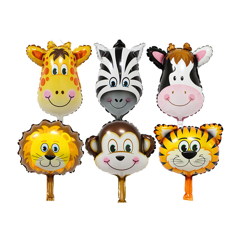 1pc Baby 1st First Happy Birthday Balloon Animal Head Shape Foil Balloon Zoo Bab