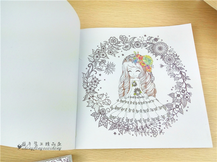 100 Sayfa Güzel çiçek Kız Antistres Boyama Kitapları Yetişkin çocuk