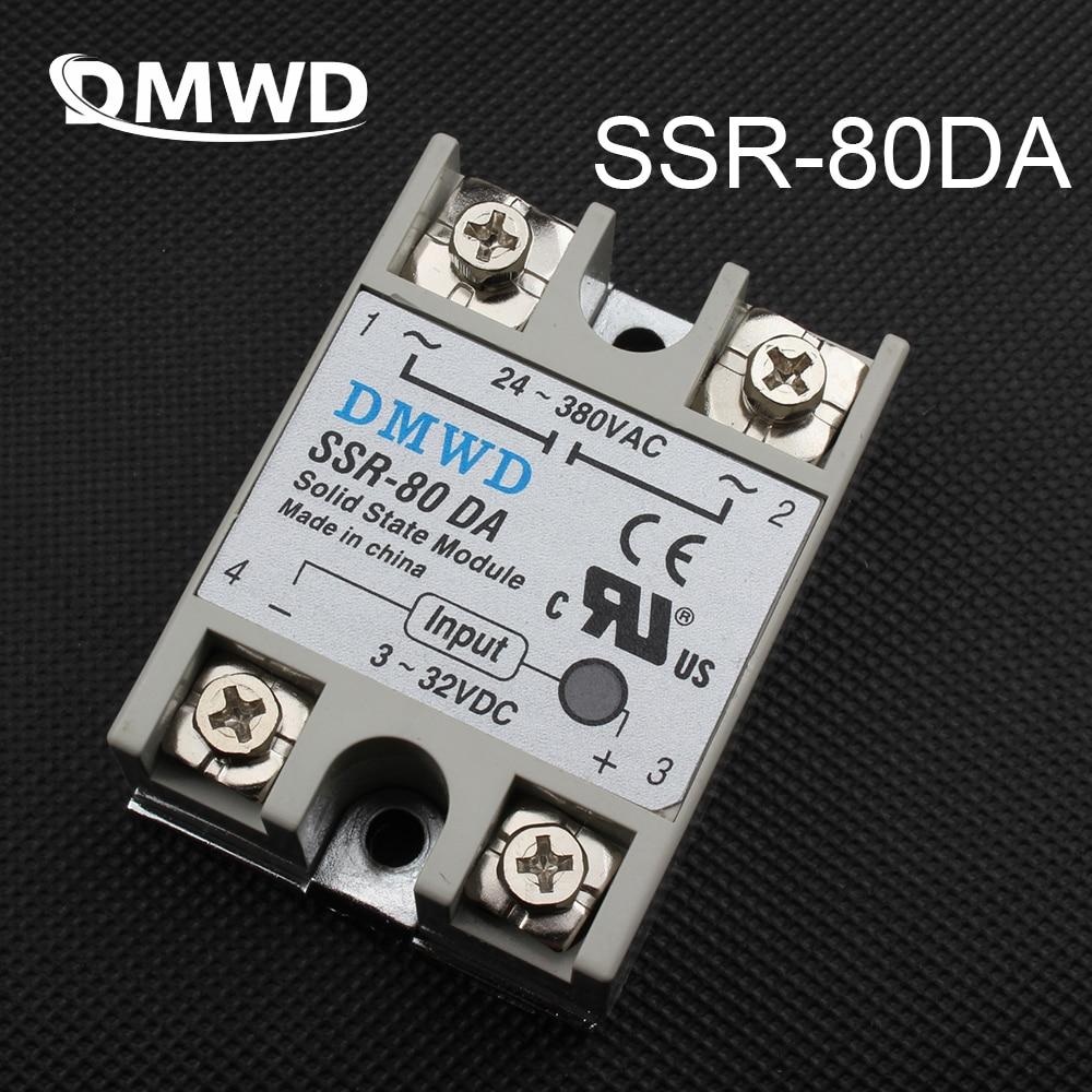 DMWD solid state relay SSR-80DA 80A DC TO AC SSR 80DA relay solid state 3-32 DC TO 24-380V AC dc-ac solid state relay ssr 10da ssr 25da ssr 40da 10a 25a 40a actually 3 32v dc to 24 380v ac ssr 10da 25da 40da high quality new