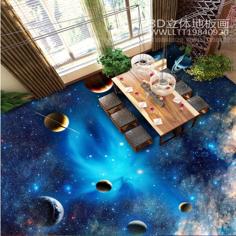 Free Shipping 3d Universe Planet Space Floor Mural Bedroom