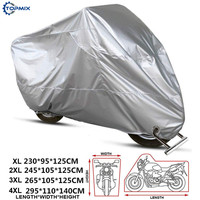 XL/2XL/3XL/4XL 210D Silver Motorcycle Cover Theftproof Outdoor UV Protector Waterproof Dustproof Motorbike Motor Scooter Covers