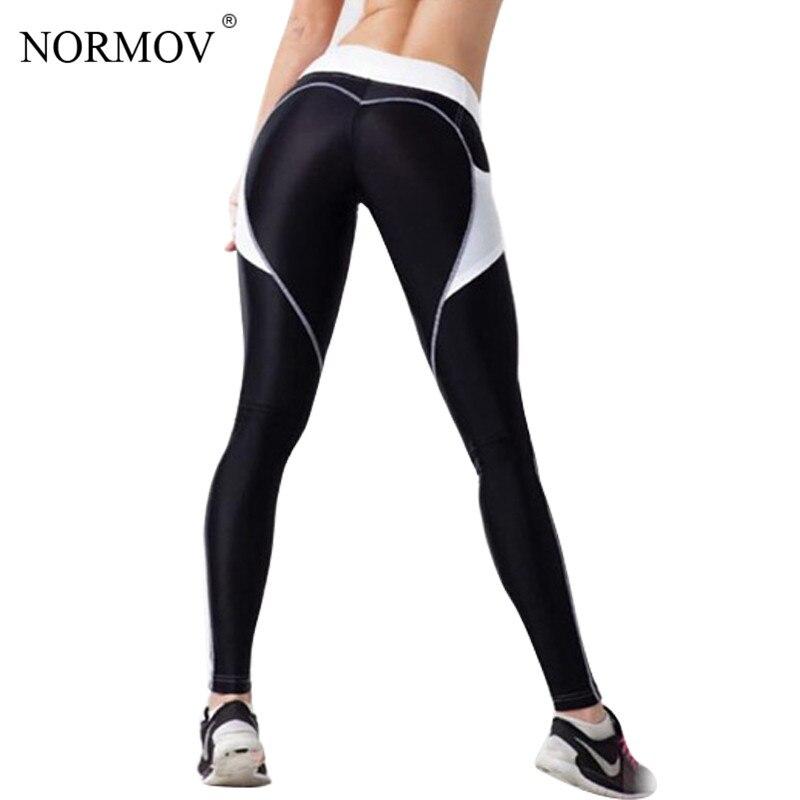 NORMOV Fashion Heart Push Up   Leggings   Women Patchwork Workout Leggins Sporting Jeggings Polyester   Legging   Pockets S-L 2 Colors