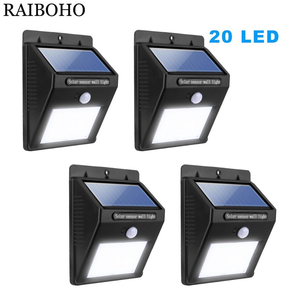 4PCS Solar Led Lights Solar Motion Sensor <font><b>20</b></font> LED Lamp Outdoor Waterproof Wireless <font><b>for</b></font> Step Garden Yard Path <font><b>Auto</b></font> On/Off image
