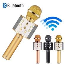 цена на WS 858 wireless microphone professional condenser karaoke mic bluetooth stand radio mikrofon studio recording studio WS858