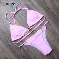 2015 Women Traingle Halter Bikini Retro Padded Swimwear Bright Color Swimsuit Biquini Push Up Monokini