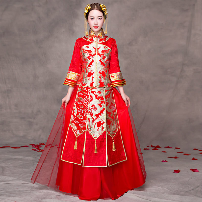 Chinese Traditional Wedding Dress Cheongsam Red Summer