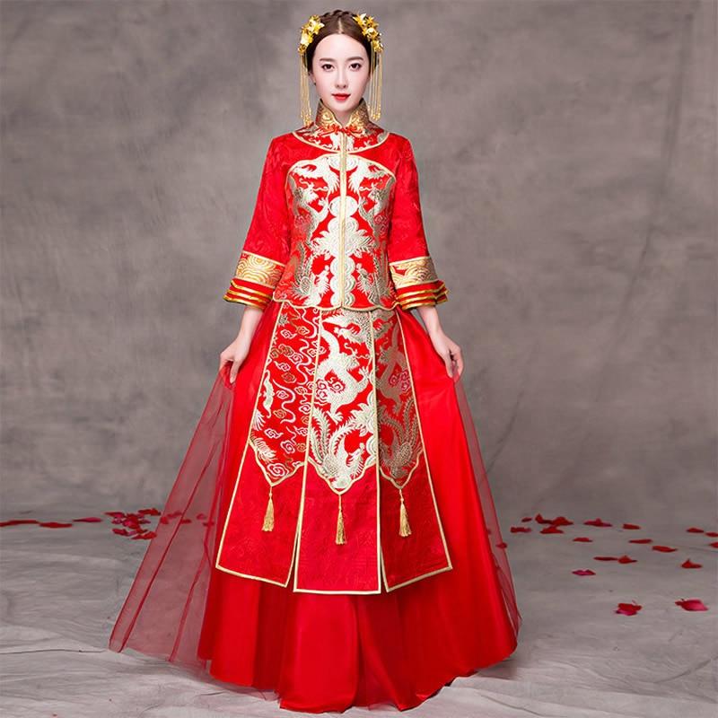 Chinese Traditional Wedding Dress Cheongsam Red Summer ...