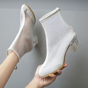 Image 1 - 2019 Hollow Breathable Womens Boots Transparent Crystal High Heel Shoes Fashion Ladies Heels Booties Ankle Woman Sandals Casual