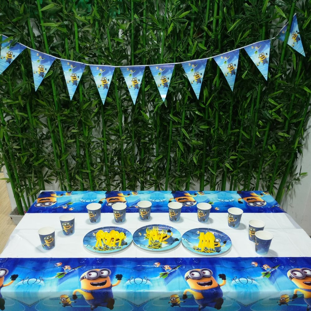 52pcs Minions Party Supplies Plate/Cup/Flags/Tablecloth Minion Birthday Decoration Shower Favor Set