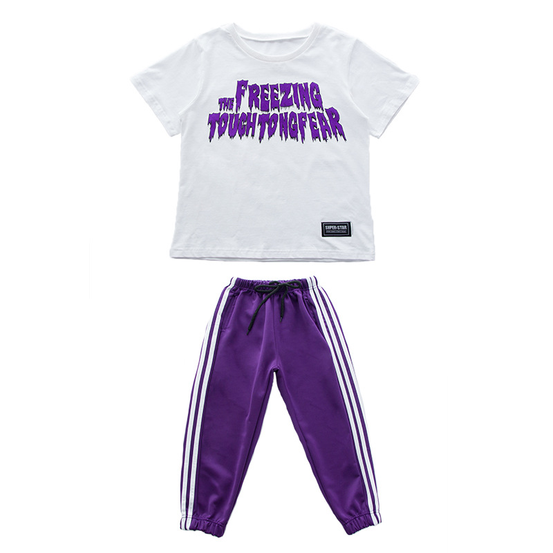 Summer Children Clothing Purple Short Sleeve T Shirts And Pant 2pcs Sets For Boys Kids Size 9 10 11 12 13 14 15 16 Years in Clothing Sets from Mother Kids