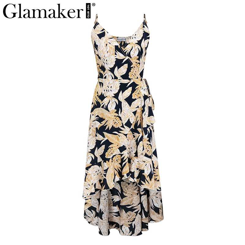 Glamaker floral Dress ... Glamaker Sexy ruffle floral print vintage dress Women summer backless  long party club dress Elegant holiday ...