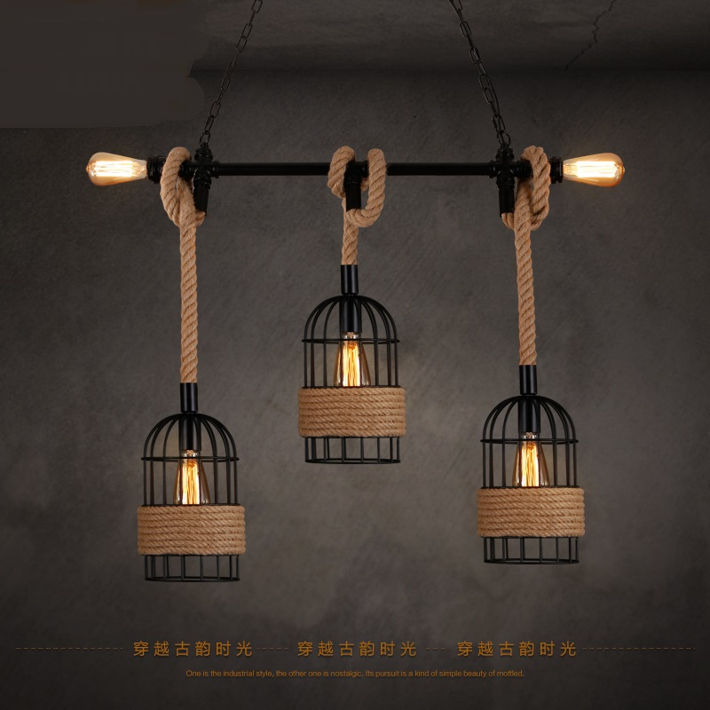 Retro industry dining room bar creative pipe rope Pendant Lights American retro bar project light clothing store pendant lamps