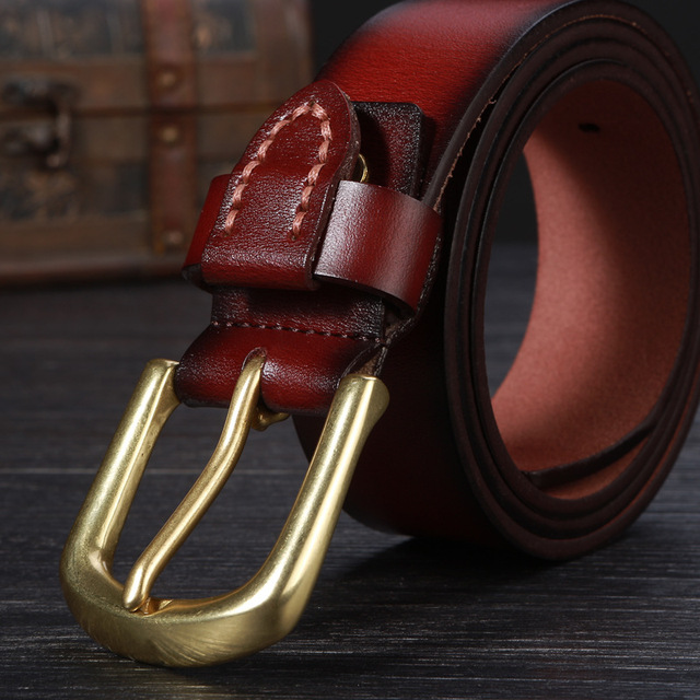 2017 mens fashion cow genuine leather luxury strap male belts for men black brown cintos masculinos plate buckle free shipping