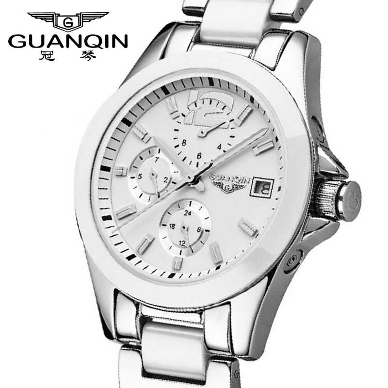 Fashion Lady watches Women sport watches Top Brand GUANQIN Waterproof Automatic Sapphire Ceramic watches for women White