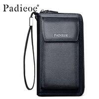 Padieoe Men's Genuine Leather Wallets Men Business Phone Bags Famous Brand Male Purse Leather Zipper long Wallets Men Clutch Bag