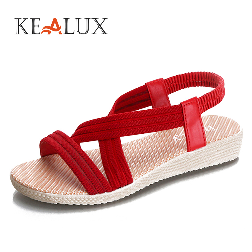 Kealux New Summer Breathable Women Leisure Sandals Shoes Comfort Flip Flops High Quality Fashion 5 Colors Concise Flats Sandals 2015 summer new fashion and leisure solid cool women sandls flat buckle knot women sandal breathable comfort women sandals e309