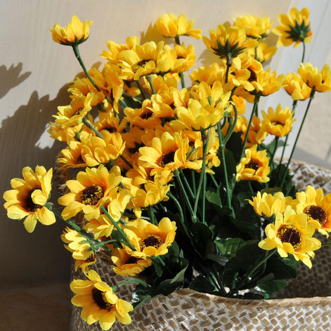 1 Bouquet Yellow Silk Sunflower Diy Flower Arrangement Home Table