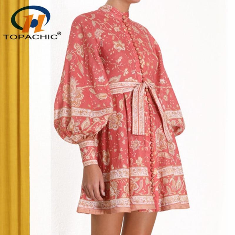 6 1 Vintage women mini shirt dress Casual lantern sleeve short dress Stand collar linen female