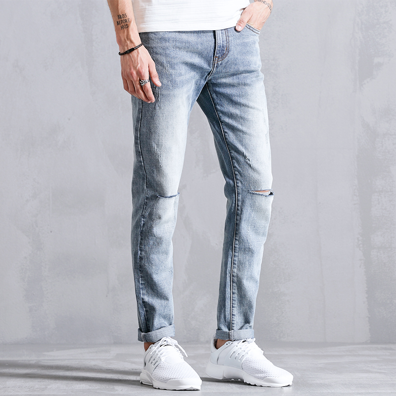 Hole Ripped Distressed Straight Casual Jeans Men Clothes Fashion Slim Fit Skinny Male Denim Trousers For Mens Clothing